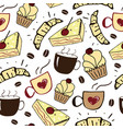 seamless pattern with cups cakes and croissants vector image