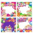 set birthday cards with place for text vector image vector image