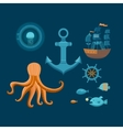 set marine objects vector image vector image