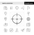 set of 17 map and location hand-drawn icon set vector image vector image