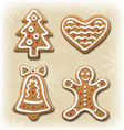 Set of Gingerbread Christmas Cookies on Beige vector image