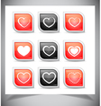Set of heart buttons vector image vector image