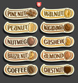 set of nuts labels vector image vector image