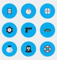 set of simple criminal icons vector image vector image