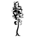 single tree sketch black and white drawing vector image vector image