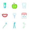 Stomatology icons set cartoon style vector image vector image