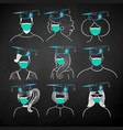 students wearing face masks vector image
