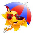 sun character cartoon with sunglasses and umbrella vector image vector image