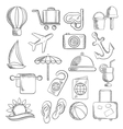 Travel journey and leisure sketch icons vector image vector image