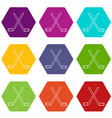 two crossed hockey sticks icons set 9 vector image vector image