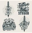 vintage tattoo studio monochrome logos vector image vector image