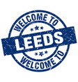 welcome to leeds blue stamp vector image vector image