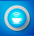 white cup of coffee shop with free wi-fi zone icon vector image vector image