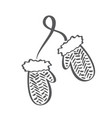 winter scandinavian contour mittens icon vector image