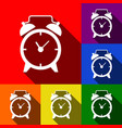 alarm clock sign set of icons with flat vector image