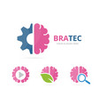 set of brain logo combination education and vector image
