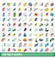 100 help icons set isometric 3d style vector image vector image