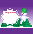 13 snowman in winter forest with a frame for vector image
