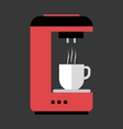 A red and black coffee machine pouring hot coffee vector image