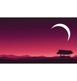 At night hut landscape and moon vector image vector image