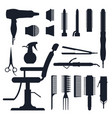 black silhouette set of hairdresser objects vector image vector image