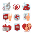 blood donation and charity isolated icons vector image vector image