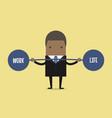 businessman keeping balance between work and life vector image vector image