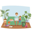 busy father working at home banner vector image vector image