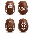 chocolate pig symbol 2019 year set of christmas vector image