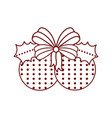 christmas ball decoration with holly leaves icon vector image vector image