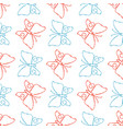 color pencil sketch butterflies seamless pattern vector image