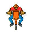 construction worker jackhammer mono line art vector image vector image