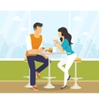Couple in the cafe vector image vector image
