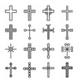 crosses icons set on white background line style vector image