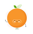 cute funny orange fruit character hand vector image vector image