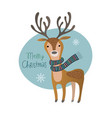 cute merry christmas deer greeting card vector image vector image