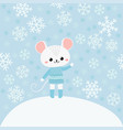 cute mouse on blue background with snowflakes vector image