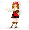 cute pirate girl with chest isolated on a white vector image vector image