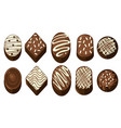 different chocolate with various designs vector image
