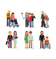 disabled person with his helpful friends or vector image vector image