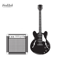 electric guitar and combo amp hard rock vector image vector image