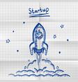 exercise book sketch rocket startup vector image vector image