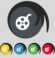 Film icon sign Symbol on five colored buttons vector image vector image