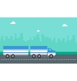 flat of container truck landscape vector image vector image