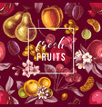 fresh fruits emblem on seamless pattern with vector image