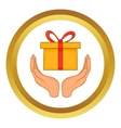 Gift box in hands icon vector image vector image