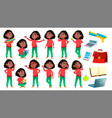girl schoolgirl kid poses set black afro vector image