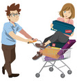 husband and wife supermarket shopping lifestyle vector image vector image