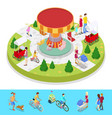 isometric city park composition with children vector image