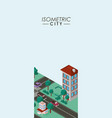 isometric city scene cards icons vector image vector image